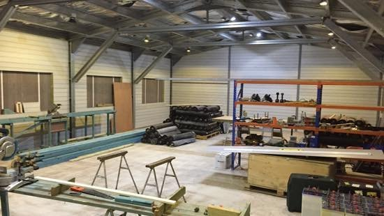 Our workshop, where we prepare materials for hundreds of home rebuilds